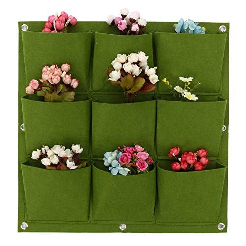 WOOTZ Taschen, 2 Stück, Pflanzgefäß, Gemüse, Wohnbeutel, Pflanzentopf, vertikaler Garten, hängende grüne Wand, Pflanzgefäße, große Töpfe, Blumen, Filz Pflanzen.
