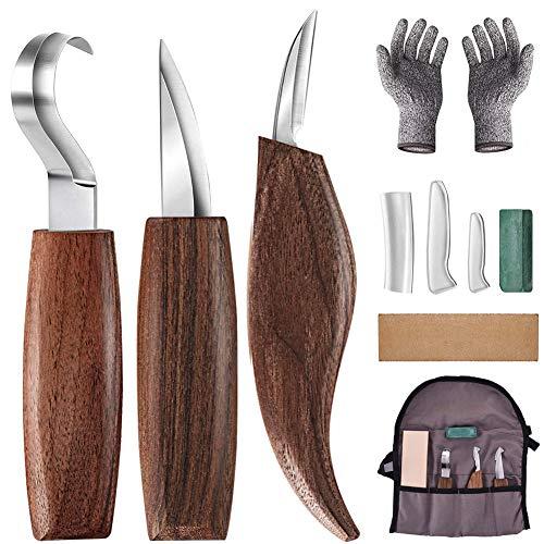 Holz-Schnitzwerkzeug Set, 7 Teiliges Holz Schnitzmesser mit Schleifsteine, Professional Holzschnitzerei Messer Werkzeuge ideales Schnitzmesser-Set für Anfänger und Profis mit Schnittfeste Handschuhe
