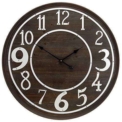 AC-Déco Horloge Murale - D 80 cm - Bois foncé