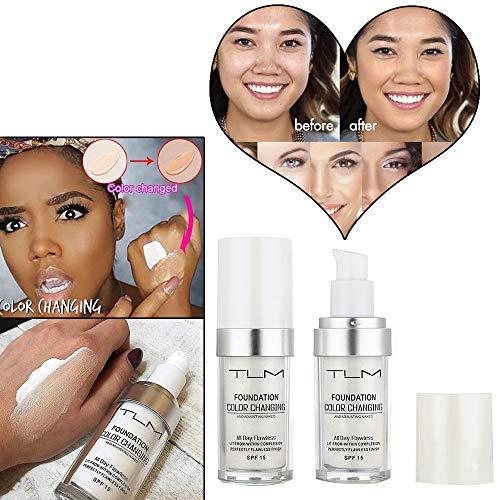 Flawless Colour Changing Foundation Makeup Base Nude Face Cover Flüssiger Concealer Puder in einem Make-up, 24 + Stunden makellose Volldeckung, LSF 50, Natürlich, AMhomely® (Weiß)