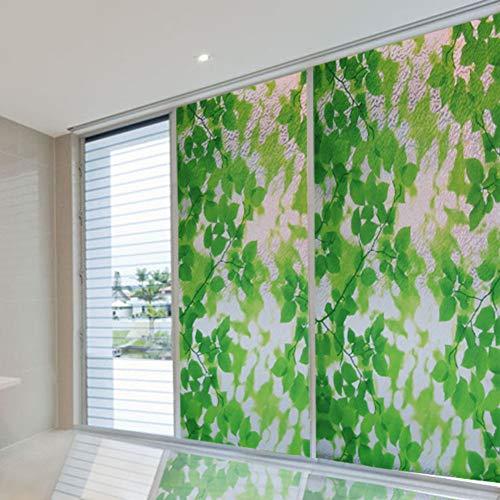 3d Decoración Película para ventana, Privacidad Hojas verdes Vidrio de película Impermeable Vidrieras Película estática Control de temperatura Anti uv Sin cola Flor de la planta-A 100x92cm(39x36inch)