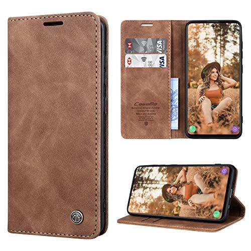 RuiPower Handyhülle für Samsung Galaxy A51 Hülle Premium Leder PU Flip Hülle Magnetisch Klapphülle Wallet Lederhülle Silikon Bumper Schutzhülle für Samsung Galaxy A51 4G Hülle - Braun