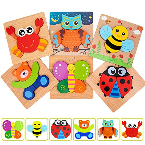 Wooden Jigsaw Puzzles, WOOD CITY Animal Pattern Puzzles Toy Game for Toddlers 1 2 3 Years, Educational Toys Gift for Boys and Girls (6pack)