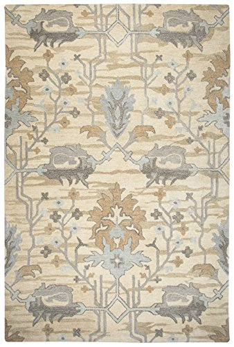 Rizzy Home Valintino Collection Wool Area Rug, 8' x 10', Beige/Gray Blue/Gray/Cream/Light Brown Motif