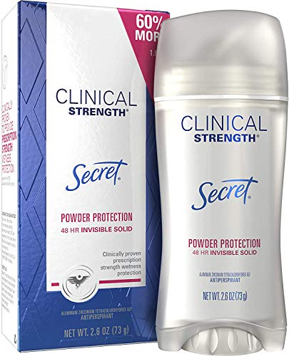 Secret Antiperspirant Clinical Strength Deodorant for Women, Invisible Solid, Powder Protection, 2.6 oz