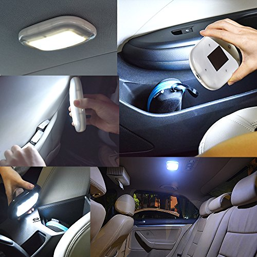 Motorhome,Truck Boat Gray Shell-Whie light Auto Car Ceiling Roof Lights Magnetic Dome Light with Universal USB Rechargeable Wireless 10 LEDs for Interior and Exterior of Car Trailer