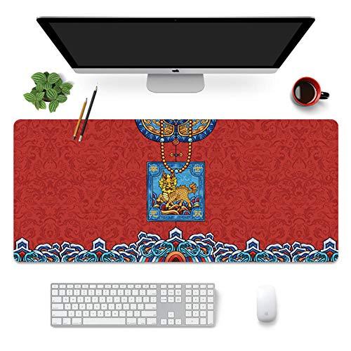 ROZEIP Tapis de Souris XXXL Gaming Mouse Pad Multifonction Grand sous Main Bureau Robe officielle rouge 1000x500mm avec Base en Caoutchouc Antidérapant Surface spéciale améliore la Vitesse et la préci