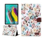 Tablet PC Case Caja protectora Galaxy Tab for Samsung T505 A7 paño de la flor de la textura del cuero del tirón PC horizontal, con el sostenedor y ranuras for tarjetas y monedero y marco de la foto y