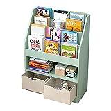 XQIAO Kinder Bücherregal Hölzern,Spielzeugregal,Kinderrega Standregal Mit 2 Aufbewahrungsschublade,Spielzeug-Organizer, Kinderzimmer, Für Bücher, Spielzeug,Green