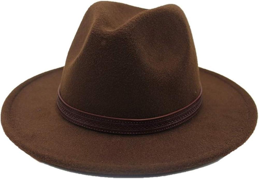 L.W.SUSL Men Women Wool Fedora Hat with Belt Autumn Wool Trilby Hat Church Casual Wild Hat Wide Brim Hat