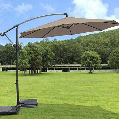 Greenbay 3m Banana Parasol - Crank Mechanism Sun Shade Canopy Cantilever Hanging Umbrella for Outdoor Garden Patio Summer Camping - Brown