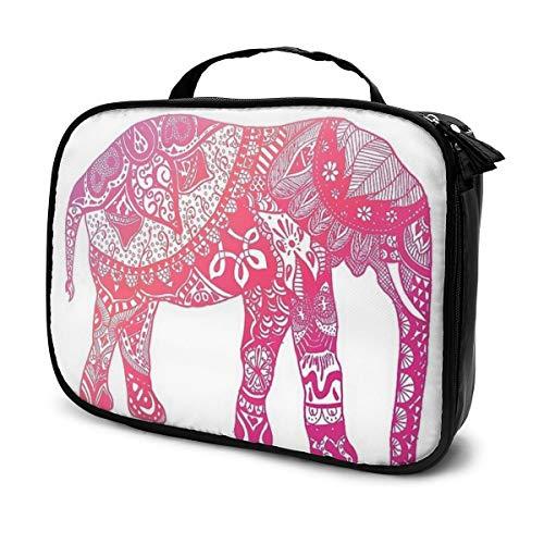 Trousse de maquillage professionnelle pour pinceaux de maquillage - Rose clair - Motif éléphant