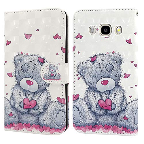 Ailisi Samsung Galaxy J3 2016 Hülle Teddy Bear 3D Muster Handyhülle Schutzhülle PU Leder Wallet Case Flip Case Klapphüllen Brieftasche Ledertasche Tasche Etui im Bookstyle