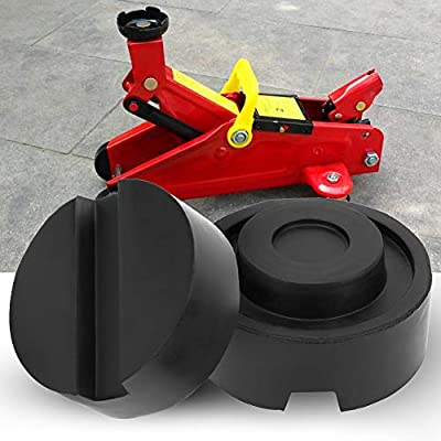 Floor Jack Pad, 2pcs Rubber Jack Pad Support Rail Protector Universal Trolley Floor Rubber Jack Disk Pad Adapter Rubber Frame Rail Protector Lifting Car Support Pad 25.59x12.9in