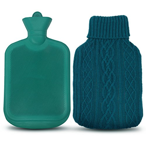 AZMED Hot Water Bottle with Premium Rubber for Pain Relief, Best Heated Bag (2-Liters, Knit Cover)