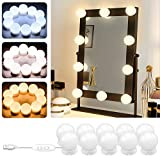 Luces para Espejo de Maquillaje POVO 10 Bombillas Estilo Hollywood Regulables LED Lámpara Kit de Espejo Cosmético de Tocador con 3 Modos de Color y 10 Niveles de Brillo, USB Operado (Blanco)