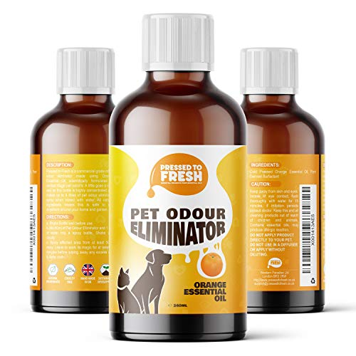PRESSED TO FRESH - Pet Urine Odour Eliminator & Neutraliser - Natural Cold Pressed Orange Oil Enzyme Cleaner - Makes 4 Litres - Cleans Dog & Cat Smells, Carpet, Bins, Litter Trays - Pet Deodoriser
