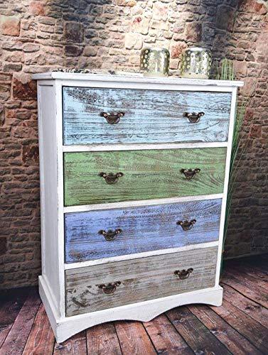Livitat® Kommode Schrank mit Schubladen Landhaus Shabby Chic Vintage Weiß Bunt (4 Schubladen LV1009)