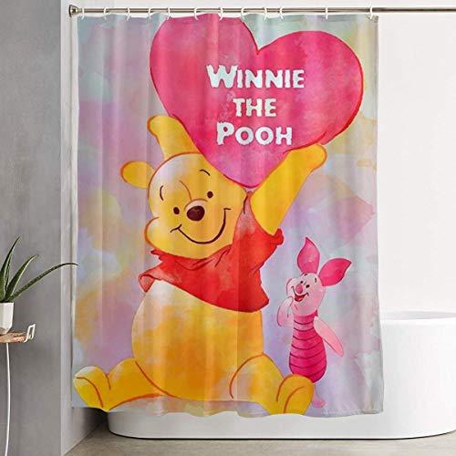 pingshang Lustiger Stoff-Duschvorhang Happy Winnie The Pooh Wasserdichtes Badezimmer-Dekor mit Haken 60 x 72 Zoll