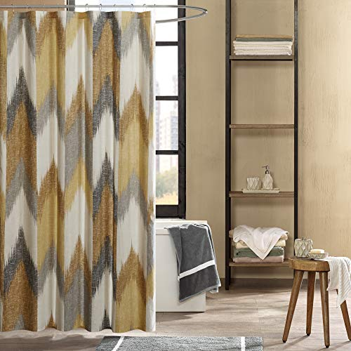 INK+IVY Alpine Shower Curtain Cotton Printed Modern Abstract Pattern Machine Washable Home Bathroom Decorations, 72x72, Yellow