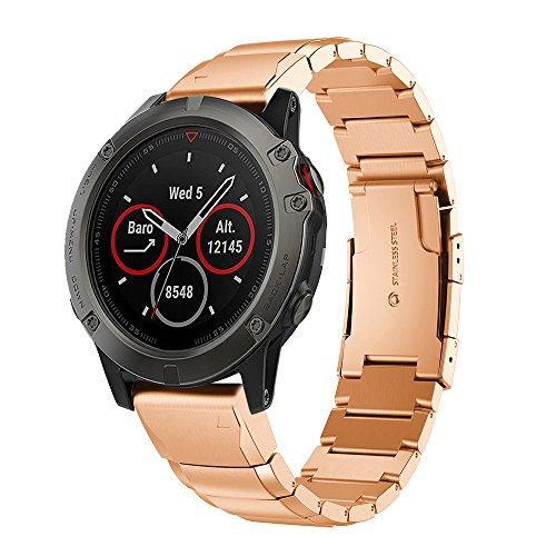 Angersi 26 mm rápida publicación de acero inoxidable macizo pulsera de metal pulsera de repuesto compatible con Fenix 6X/Fenix 6X Pro/Fenix 5X/Fenix 5X Plus Smartwatch