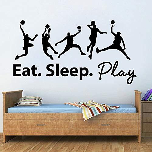 WERWN Calcomanía de Pared de Baloncesto Eat Sleep Play Ball Deportes Palabra Puerta Ventana Vinilo Pegatina Adolescente Dormitorio Estadio decoración Interior
