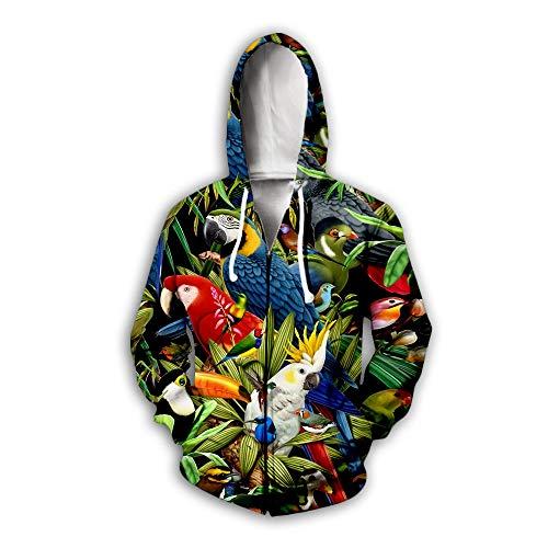 Männer Frauen Zip Hoodies 3D Bunte Papagei Print Unisex Pullover Paar Langarm Strickjacke Sweatshirts Baseball Uniform Pullover Outdoor Leisure Club, XXXL