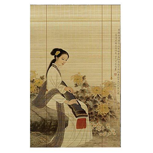 WXQIANG Antecedentes Persiana de bambú persianas de la cortina de bambú cortina de ventana cortinas romanas a prueba de viento a prueba de polvo decoración de casa de té al aire libre resistente al de