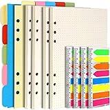 Teenitor - Accesorios recargables para cuaderno A5, 2 paquetes de papel rayado, 1 juego de separadores horizontales/verticales, 4 paquetes de pestañas de índice, 6 agujeros para agenda de recambios