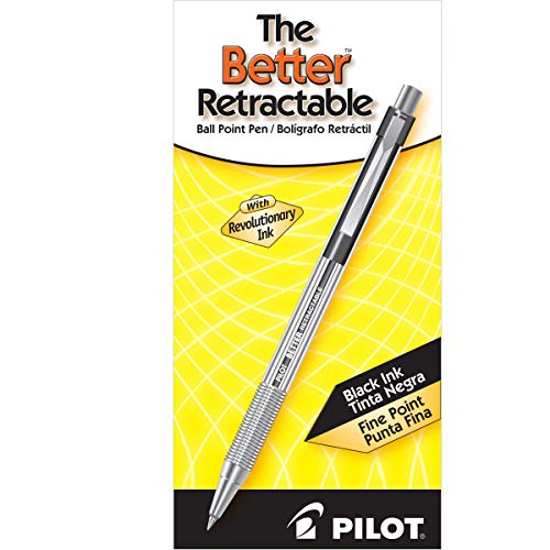 PILOT The Better Ball Point Pen Refillable & Retractable Ballpoint Pens, Fine Point, Black Ink, 12-Pack (30000) Photo #5