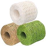 JJQHYC Cuerda de papel de rafia natural de 3 rollos para envolver regalos, tejer y empaquetar