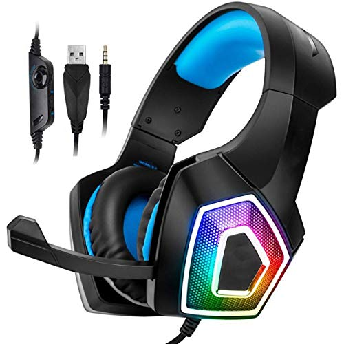 Electronics Wired PC Earphones RGB Gaming Headset for Mobile Gaming Headset E-Sports with Microphone Stereo Surround USB Headset for PC and Laptop,Blue Wearable (Color : Blue)