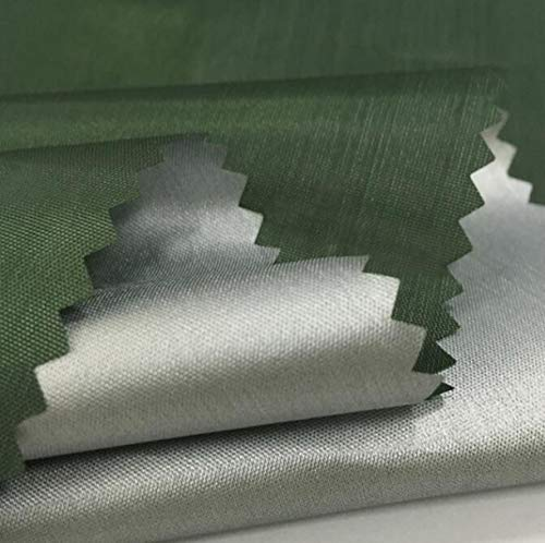 WellieSTR 1,5 m de ancho (1,5 m de ancho), delgado/ligero poliéster plateado membrana compuesta tela de poliéster tela impermeable paraguas tienda Material tela toldo -verde militar