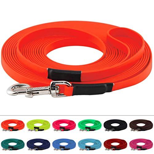 LENNIE BioThane Schleppleine, 8m mit Handschlaufe, Neon-Orange, 16mm für große Hunde, genäht