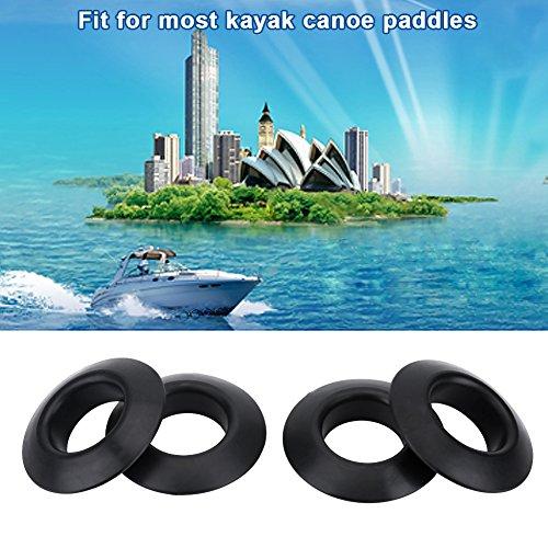 Tbest Kajak Paddel Tropfring - 4Pcs Durable Universal Rubber Drip Ringe für Kajak Kanu Rafting Paddel Shaft Black