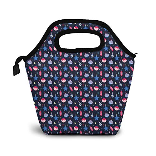 Bolsa de almuerzo para adultos y niños con diseño de bolas de Navidad, a prueba de fugas, color rosa y azul