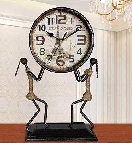 YXZQ Table Clock European Antique Wrought Iron Mute Clock Living Room Creative Fashion Personality pm Art Deco Vintage Quartz Clock Mantel Clocks