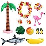 MEZOOM Decoraciones para fiestas tropicales juego de juguetes inflables incluye flamencos palmeras Plátano Tiburón Playa Pelota Gafas de Sol para Hawaii Luau Tiki Fiesta de Verano Telón de fondo