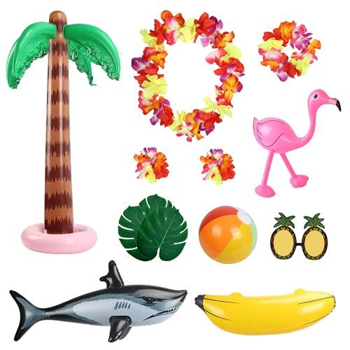 MEZOOM Hawaii Aufblasbare Spielzeuge Set, 10Stk Beach Party Deko Aufblasbare Palmen Rosa Flamingo Banane Hai Strand Bälle für Tropical Luau Tiki Summer Party Hintergrund