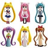 Sailor Moon Cake Topper BESTZY Sailor Moon Mini Juego de Figuras Decoración de pastel de cumpleaños de dibujos animados para Cumpleaños Decoración de La Torta del fiesta suministros 6 Piezas