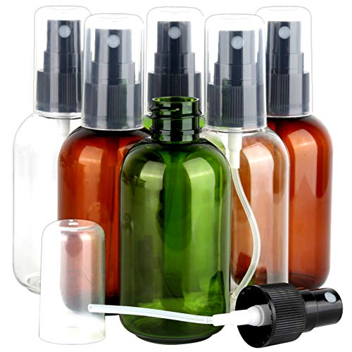 Teenitor 6 Pack 2.7OZ/80ML Fine Mist Spray Bottles, Travel Size Spritzer Bottle Refillable Empty Atomizers Water Hair Mister For Essential Oil, Rose Water, Perfumes - Amber,Green, Clear Container