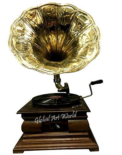 "Antique Museum Brass Horn Vintage HMV ""His Masters Voice"" Phonograph Antique Home Décor Music Box Wooden Turntable Square Base Gramophone A3AMBG 015"