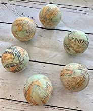 Travel The World Map Fabric Wrapped Balls Bowl Filler Set
