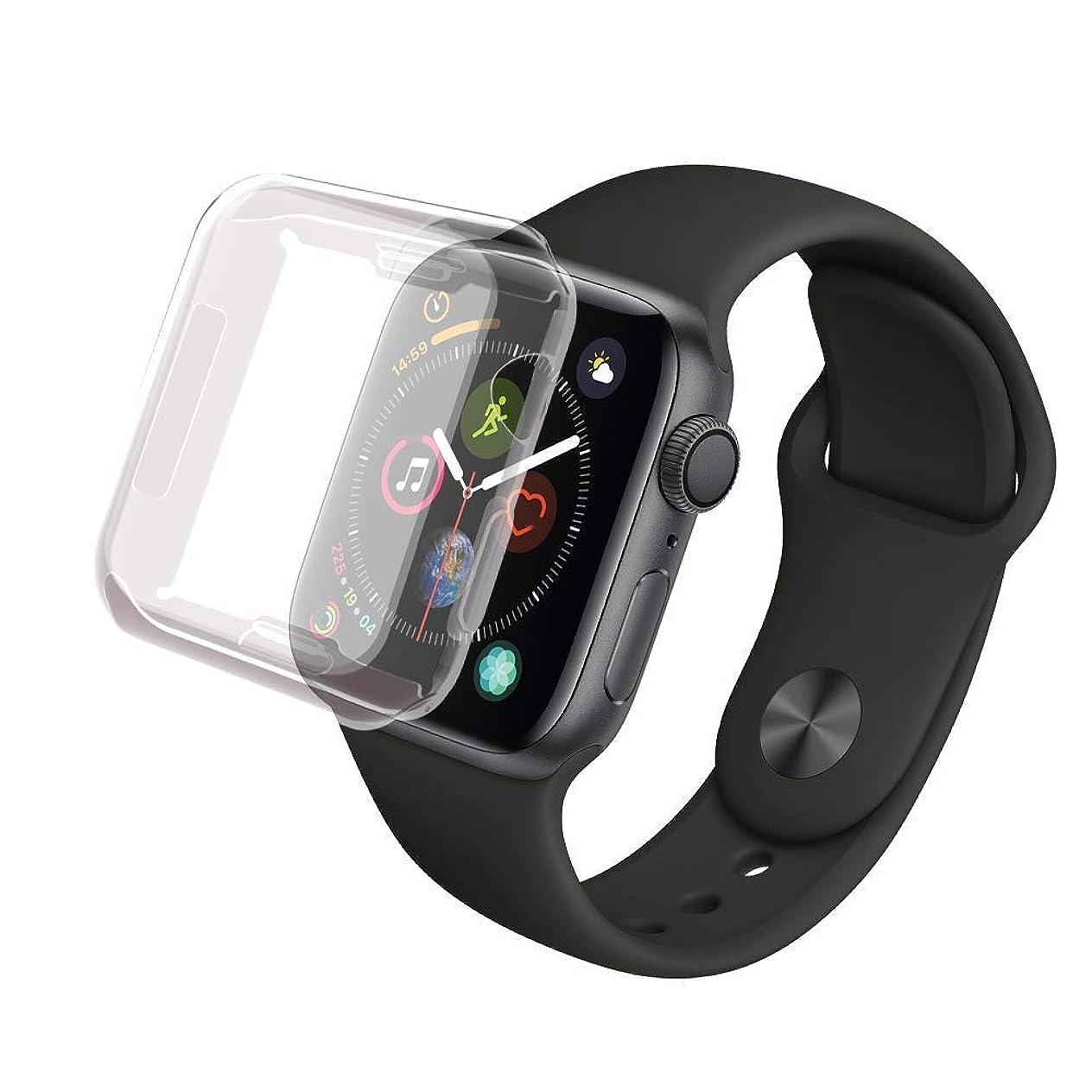 立ち向かう抗生物質エロチックApple Watch 44mm ケース 全面保護, AROC アップルウォッチ全面カバー 保護ケース キズ防止 衝撃吸収 着装まま充電可能 精密操作 高感度 高級感 防汗 脱着簡単 コンパチブル アップル ウォッチ シリーズ4カバー 全面保護ウォッチアクセサリスマートフォンケース 『透明』