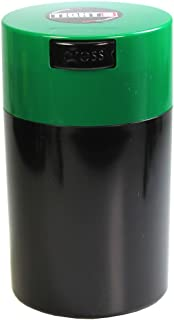 Tightvac - 1 oz to 6 ounce Airtight Multi-Use Vacuum Seal Portable Storage Container for Dry Goods, Food, and Herbs - Dark Green Cap & Black Body