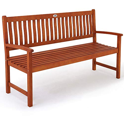 Deuba Sitzbank Holzbank Maxima 3-Sitzer FSC-zertifiziertes Eukalyptusholz In- Outdoor Ruhebank Gartenbank Parkbank Bank