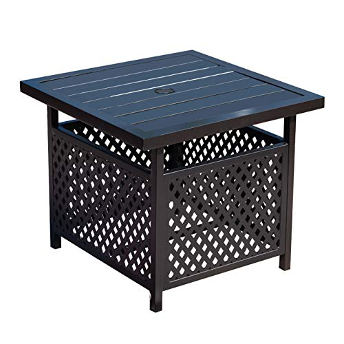 LOKATSE HOME Patio Umbrella Side Table Stand Steel with...