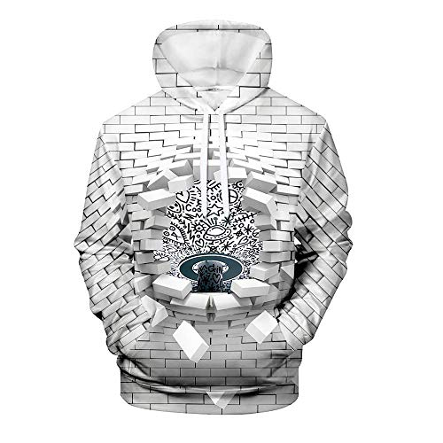 Men's Pullover Hoodie 3D Print Creative Brick Wall and Car Series Animal Casual Novelty Long Sleeve Hooded Sweatshirts with Pocket 5 Design XXL
