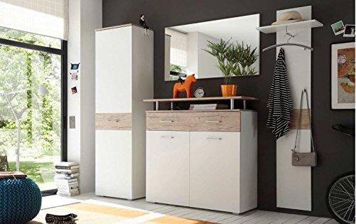 First-Look Garderobe 4-teilig Weiss/Eiche San Remo Set Garderobenschrank, Schuhschrank, Spiegel und Paneel