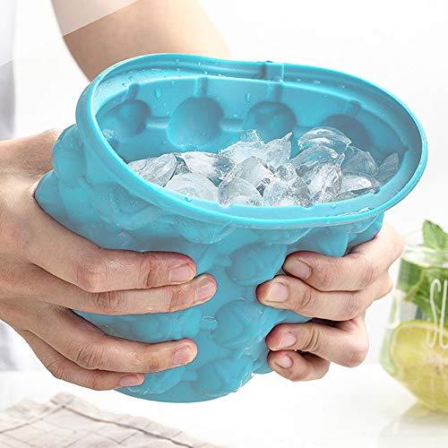 PPuujia Molde para cubitos de hielo de silicona de 1000 ml con tapa, cubo de hielo, cubo de hielo, cubo de cerveza para champán y vino, para cocina, fiesta, barware (color: 600 ml)